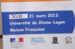 Affiche à l'entrée Maison francophone à Legon