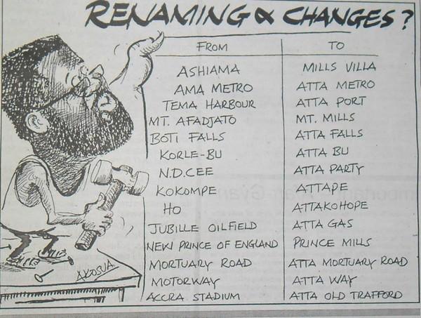 Caricature ironisant la redénomination de certains lieux (Crédit Akosua)