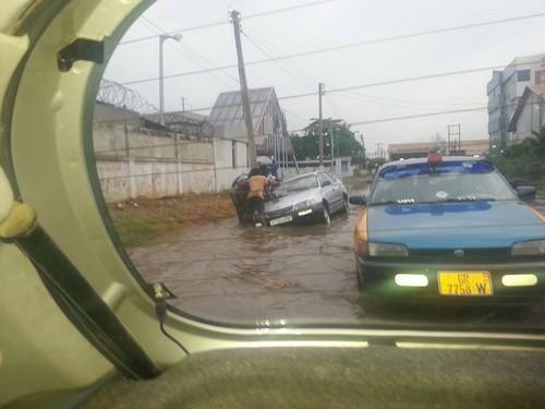 Vue d'une inondation à  Accra