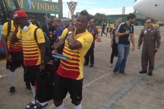 Des joueurs des Black Stars (ph) à leur arrivée au Brésil